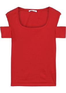 Helmut Lang Woman Cold-shoulder Cotton-jersey Top Red