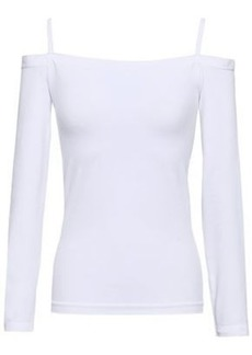 Helmut Lang Woman Cold-shoulder Stretch-jersey Top White