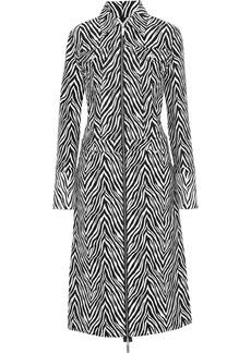 Helmut Lang Woman Cotton And Silk-blend Zebra-jacquard Coat Animal Print