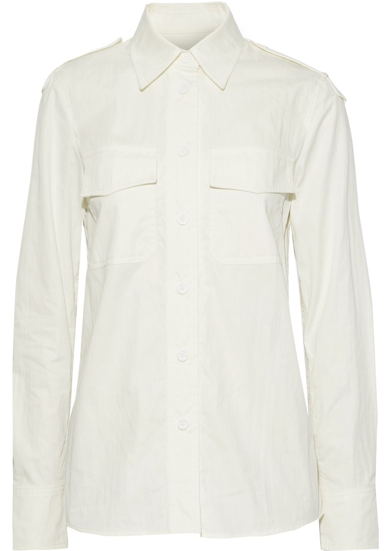 Helmut Lang Woman Cotton-blend Twill Shirt Off-white