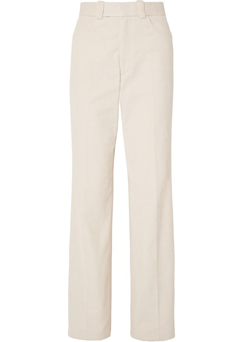 Helmut Lang Woman Cotton-corduroy Straight-leg Pants Cream