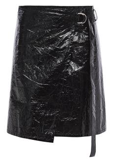 Helmut Lang Woman Crinkled Coated-canvas Mini Wrap Skirt Black