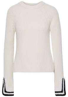 Helmut Lang Woman Crochet-trimmed Ribbed-knit Sweater Ecru
