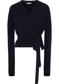 Helmut Lang Woman Cropped Cashmere Wrap Cardigan Midnight Blue