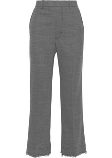 Helmut Lang Woman Cropped Frayed Wool-blend Straight-leg Pants Gray