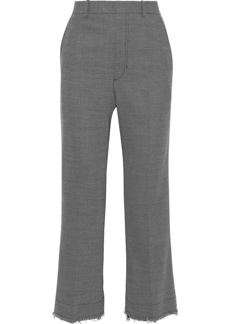 Helmut Lang Woman Cropped Frayed Wool-blend Straight-leg Pants Gray