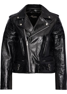 Helmut Lang Woman Cropped Glossed Textured-leather Biker Jacket Black