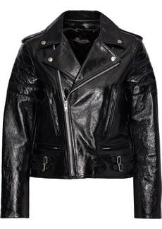 Helmut Lang Woman Cropped Glossed Textured-leather Biker Jacket Black