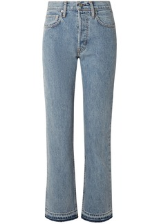 Helmut Lang Woman Frayed High-rise Straight-leg Jeans Light Denim