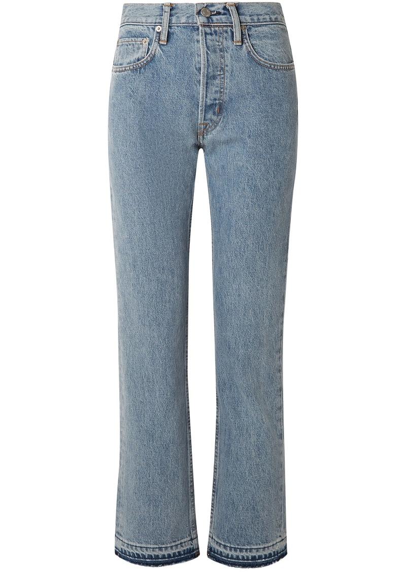 Helmut Lang Woman Frayed High-rise Straight-leg Jeans Light Denim
