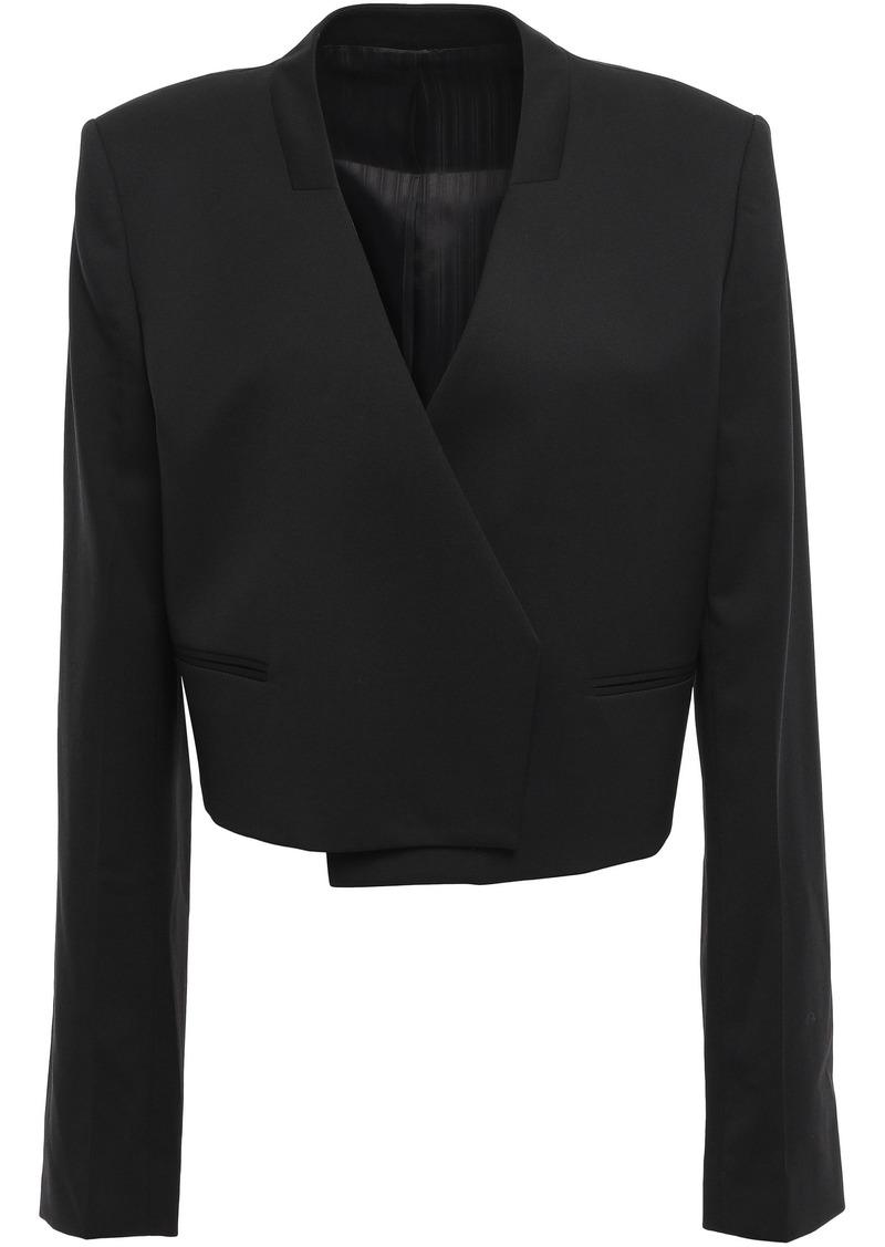 Helmut Lang Woman Cropped Wool-twill Blazer Black