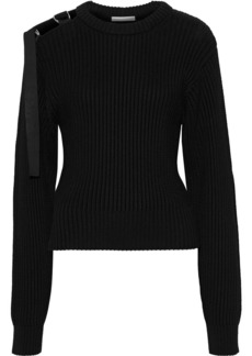 Helmut Lang Woman Cutout Buckled Ribbed Cotton Sweater Black