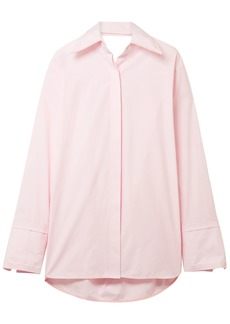 Helmut Lang Woman Cutout Cotton-poplin Shirt Baby Pink