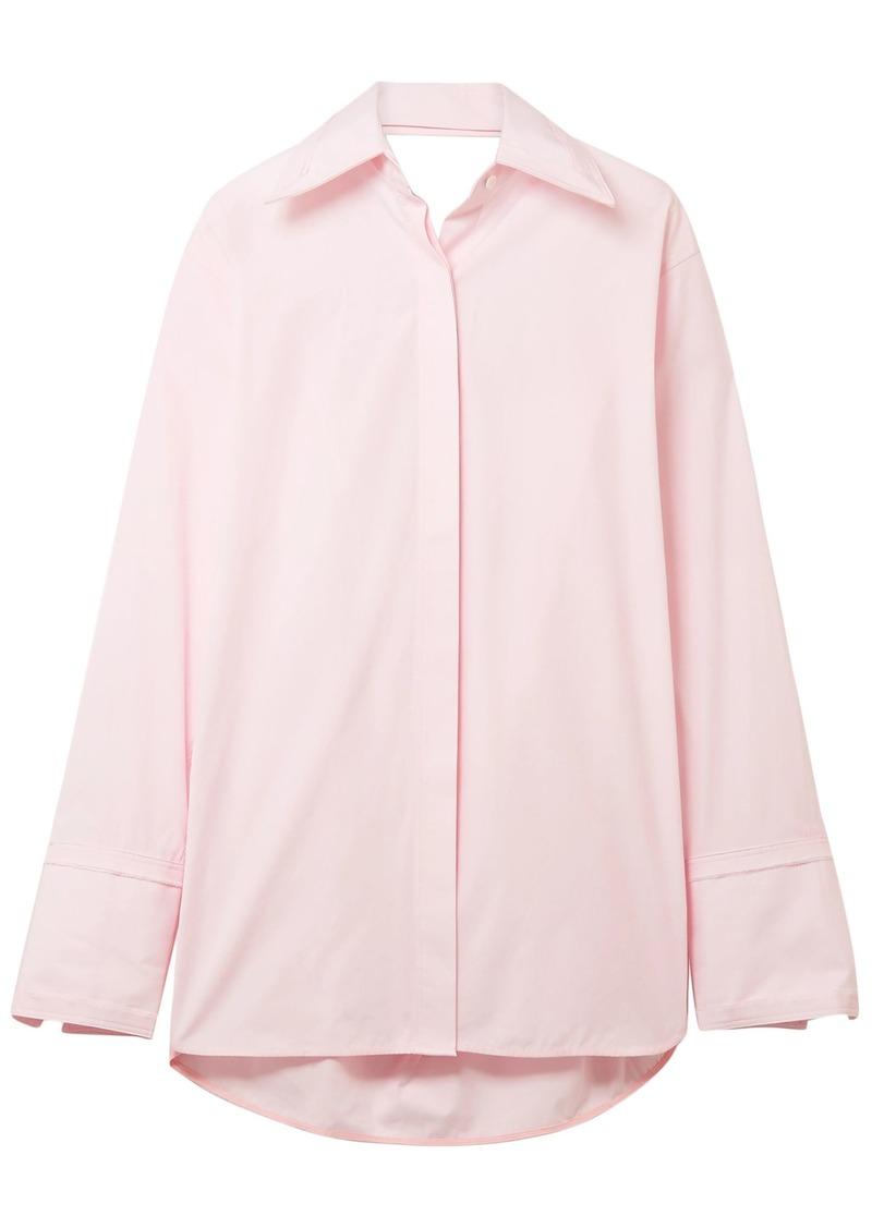 Helmut Lang Woman Oversized Cutout Cotton-poplin Shirt Baby Pink