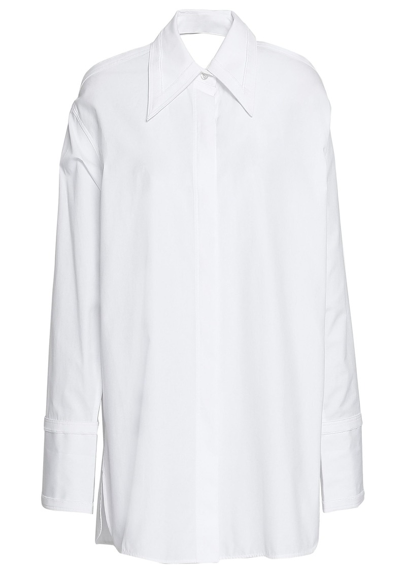 Helmut Lang Woman Oversized Cutout Cotton-poplin Shirt Off-white