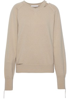Helmut Lang Woman Cutout Cotton Wool And Cashmere-blend Sweater Beige