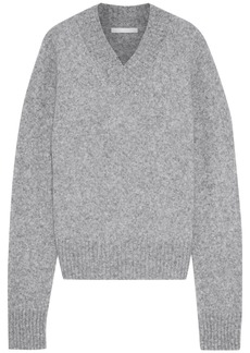 Helmut Lang Woman Cutout Mélange Brushed Knitted Sweater Gray