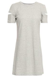 Helmut Lang Woman Cutout Ribbed Cotton-jersey Mini Dress Light Gray