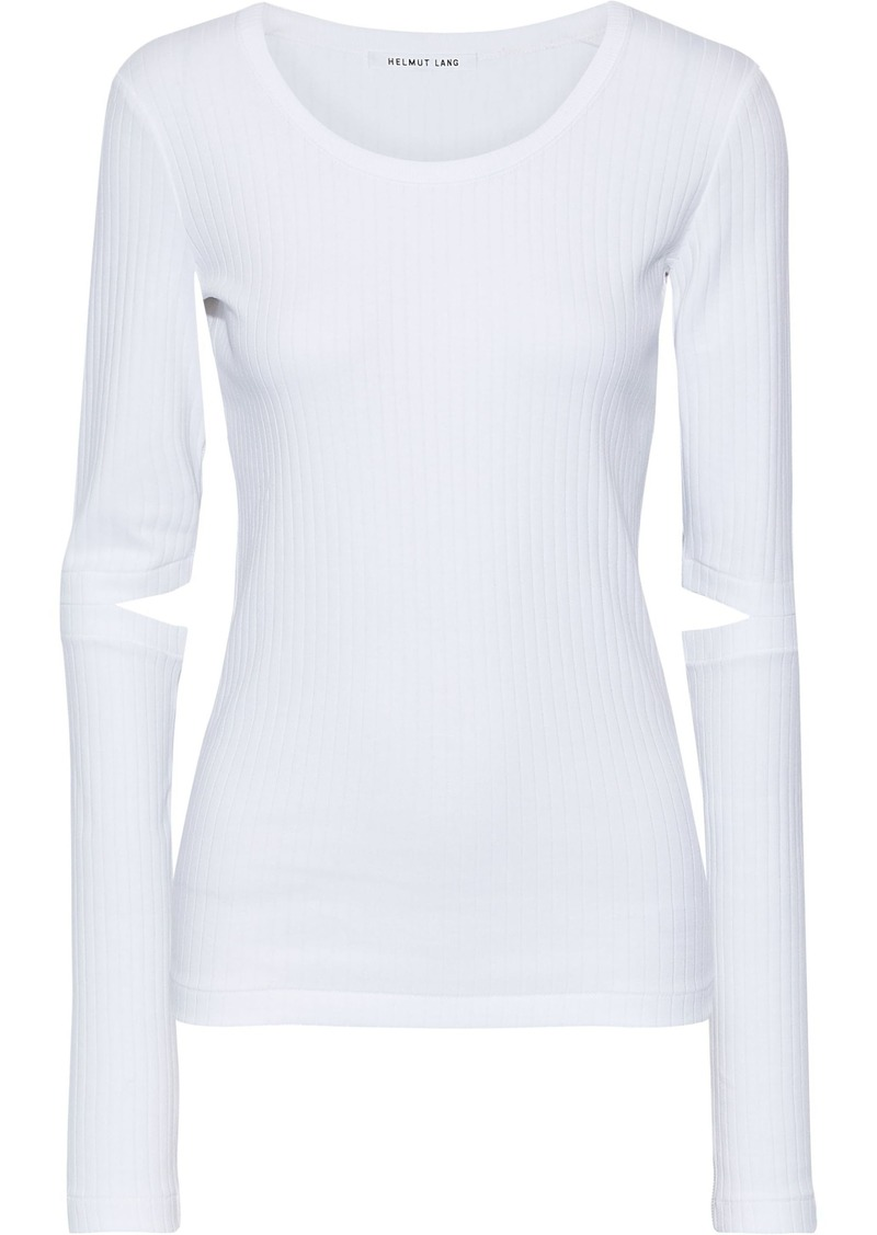 Helmut Lang Woman Cutout Ribbed Cotton-jersey Top White