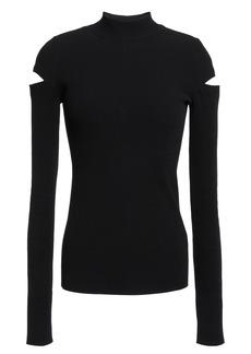 Helmut Lang Woman Cutout Ribbed-knit Sweater Black