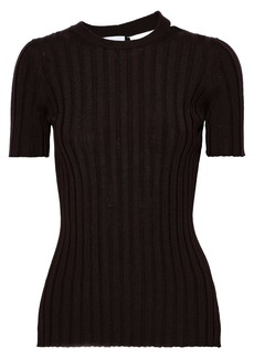 Helmut Lang Woman Cutout Ribbed Wool Top Chocolate