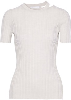 Helmut Lang Woman Cutout Ribbed Wool Top Ecru
