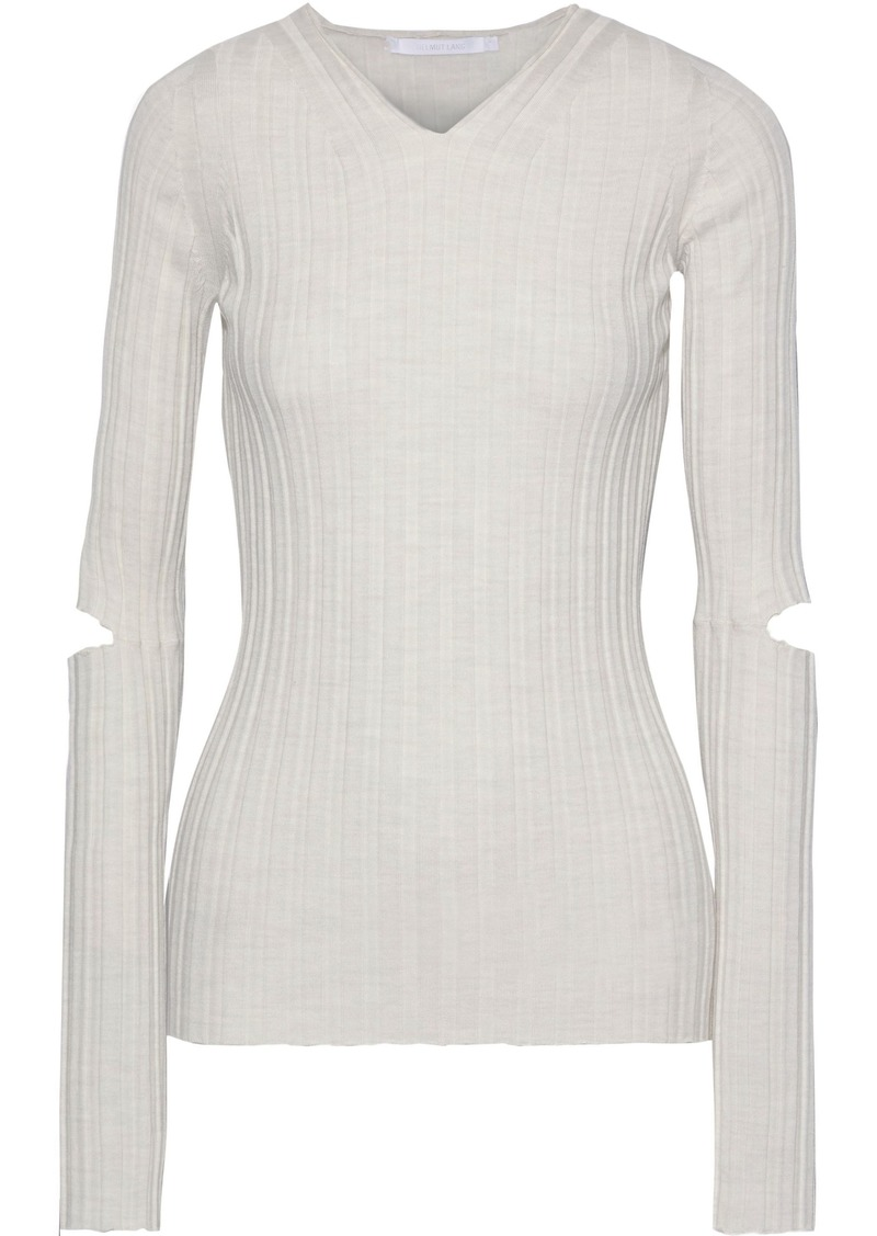 Helmut Lang Woman Cutout Ribbed Wool Top Ivory
