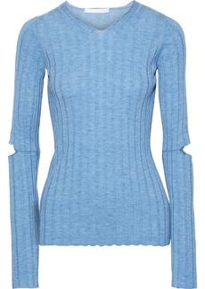 Helmut Lang Woman Cutout Ribbed Wool Top Light Blue