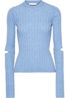 Helmut Lang Woman Cutout Ribbed Wool Top Light Blue