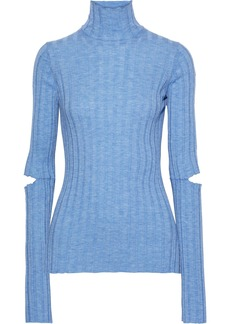 Helmut Lang Woman Cutout Ribbed Wool Turtleneck Top Light Blue