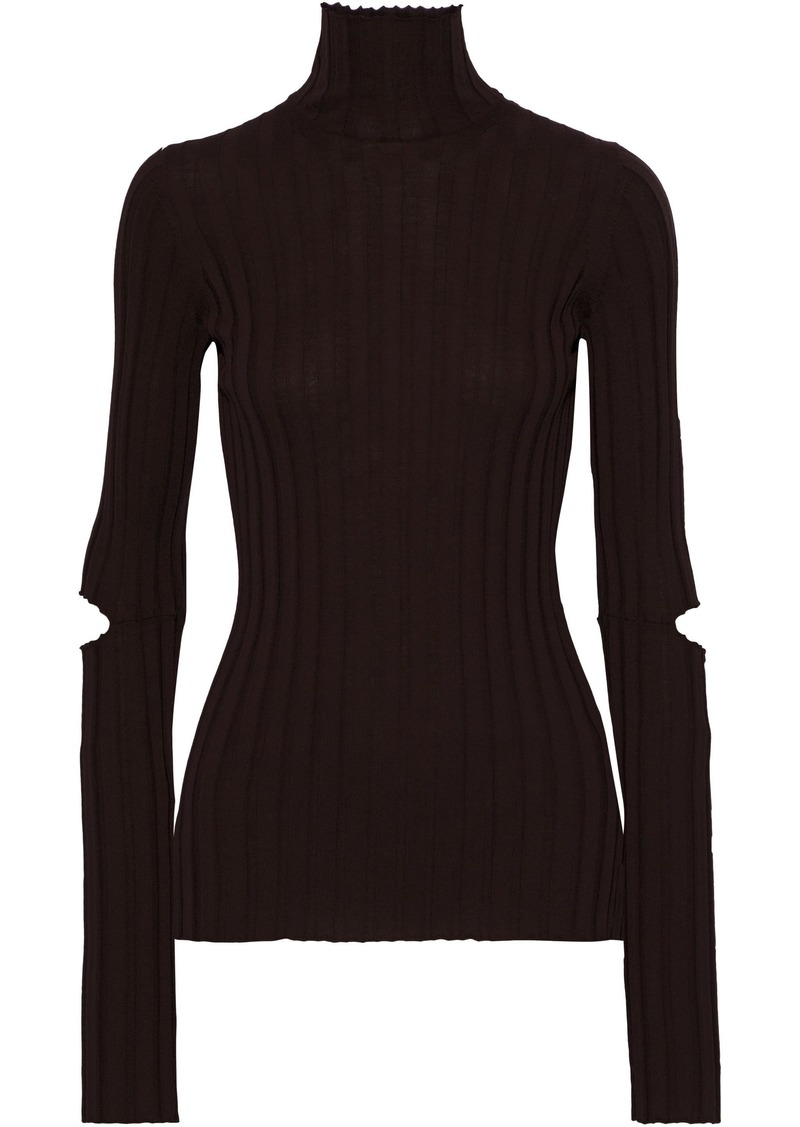 Helmut Lang Woman Cutout Ribbed Wool Turtleneck Top Chocolate