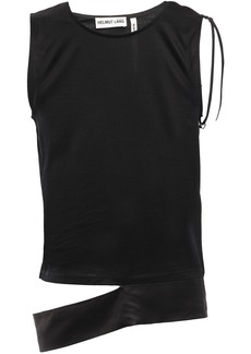 Helmut Lang Woman Cutout Satin-paneled Slub Cotton-jersey Top Black