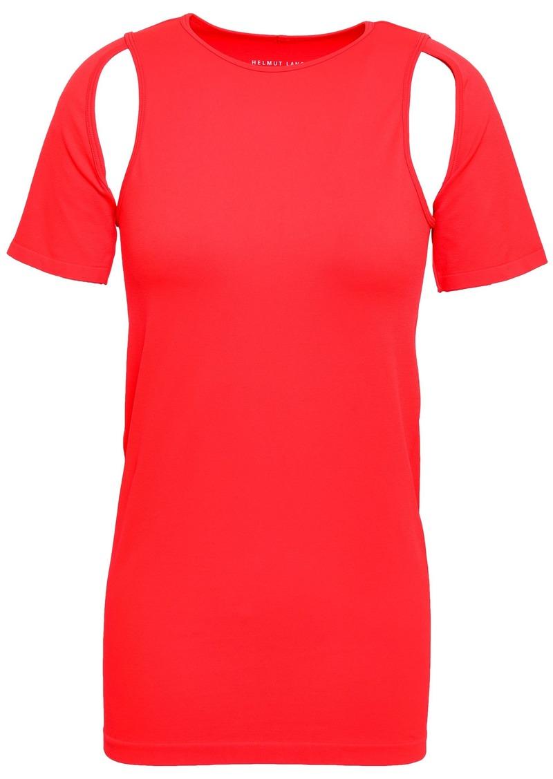 Helmut Lang Woman Cutout Stretch-jersey T-shirt Papaya