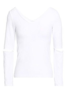 Helmut Lang Woman Cutout Stretch-jersey Top White