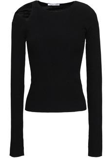 Helmut Lang Woman Cutout Stretch-knit Top Black