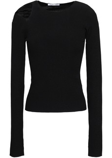 Helmut Lang Woman Cutout Stretch-knit Top Black