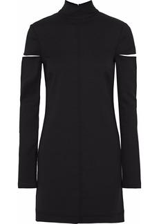Helmut Lang Woman Cutout Wool-blend Twill Turtleneck Mini Dress Black