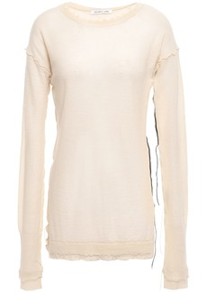 Helmut Lang Woman Distressed Cashmere Top Ecru