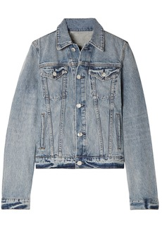 Helmut Lang Woman Distressed Denim Jacket Light Denim