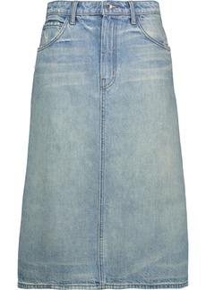 Helmut Lang Woman Distressed Denim Skirt Light Denim