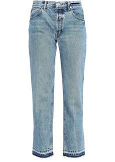 Helmut Lang Woman Distressed High-rise Straight-leg Jeans Mid Denim