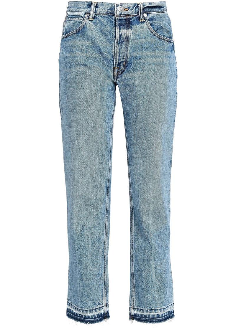 Helmut Lang Woman Distressed High-rise Straight-leg Jeans Mid Denim