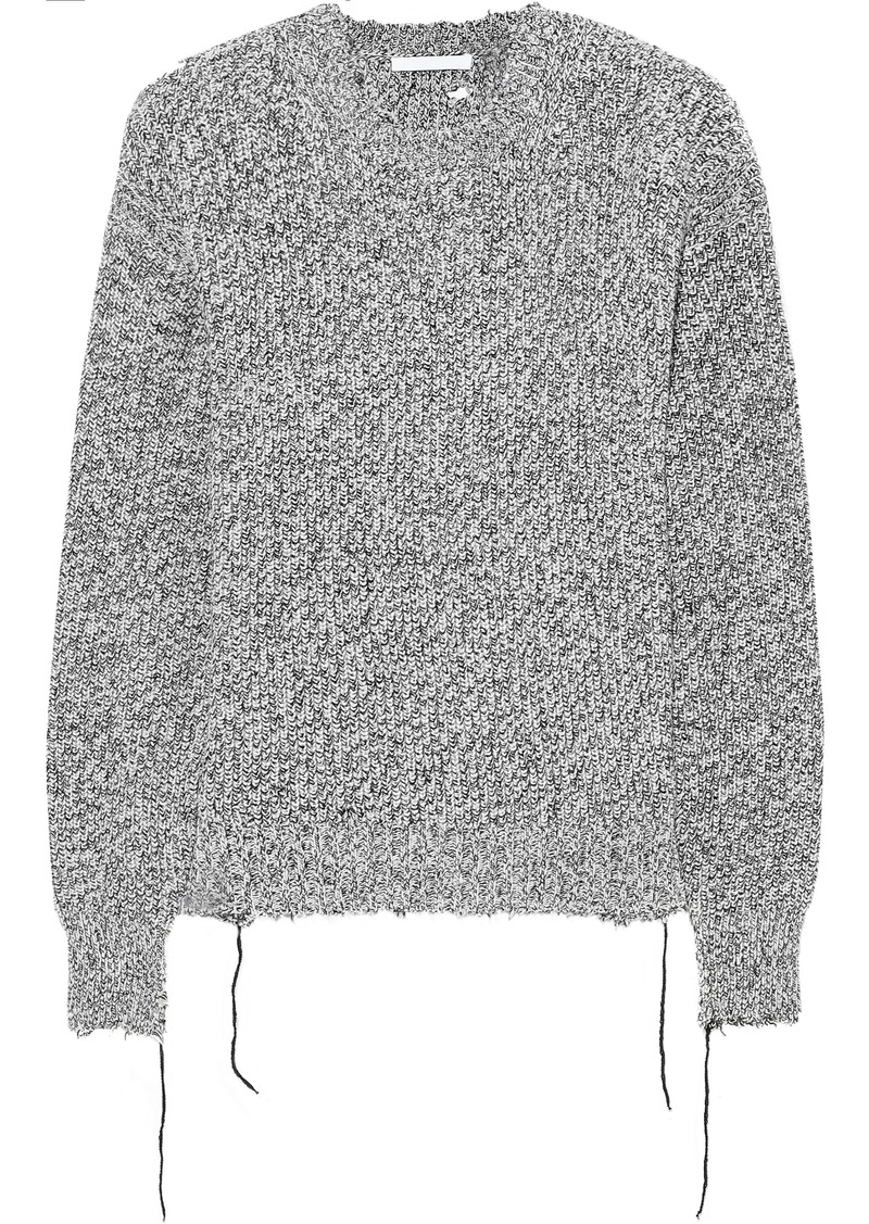 Helmut Lang Woman Distressed Mélange Knitted Sweater Gray