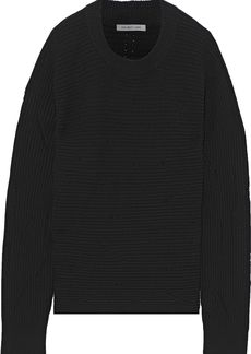 Helmut Lang Woman Distressed Ribbed Wool Sweater Black