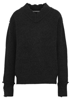 Helmut Lang Woman Distressed Ribbed Wool Sweater Charcoal