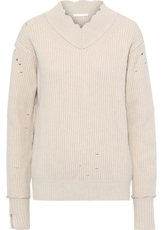 Helmut Lang Woman Distressed Ribbed Wool Sweater Ecru