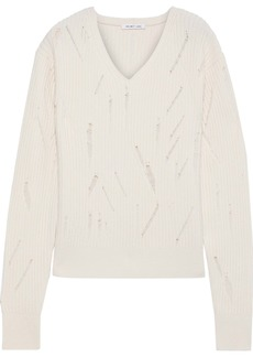 Helmut Lang Woman Distressed Ribbed Wool Sweater Ivory