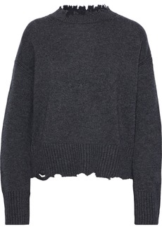 Helmut Lang Woman Distressed Wool And Cashmere-blend Sweater Dark Gray