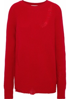 Helmut Lang Woman Distressed Wool And Cashmere-blend Sweater Red