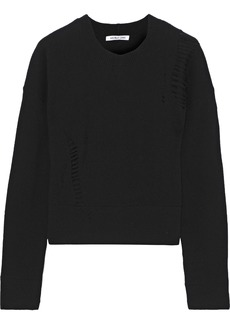 Helmut Lang Woman Distressed Wool Sweater Black